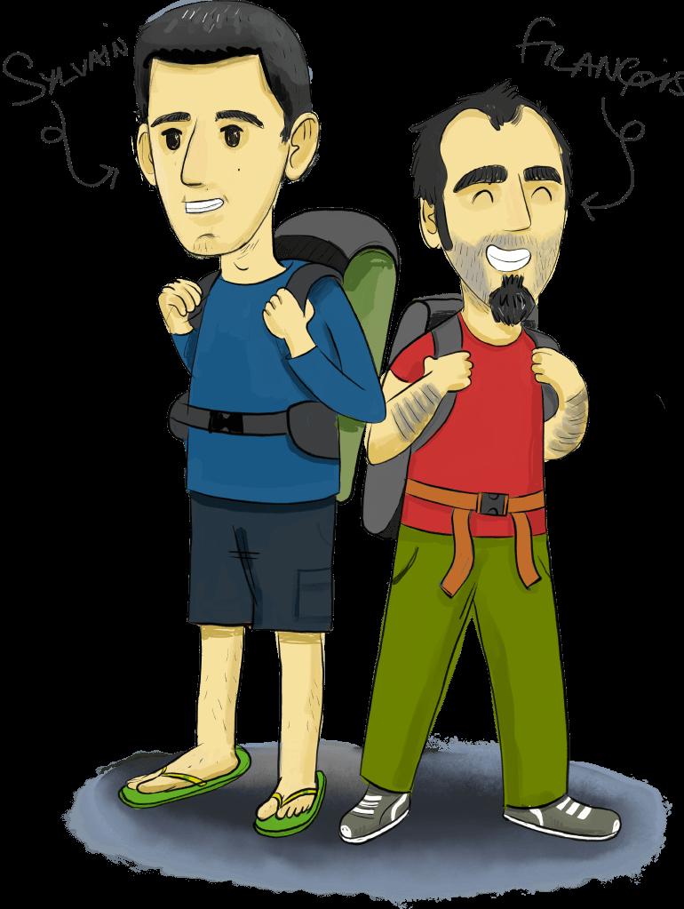 François et Sylvain avec leurs sacs à dos