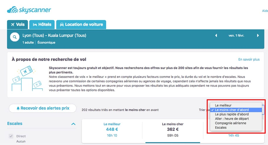Trier par prix sur Skyscanner