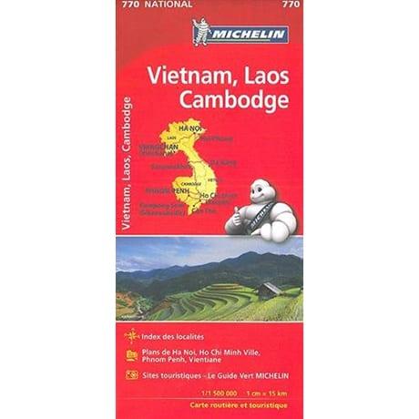 Carte Vietnam, Laos, Cambodge