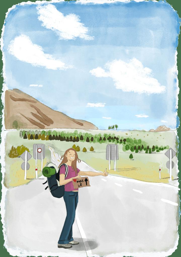 Voyageuse en train de faire de l'autostop