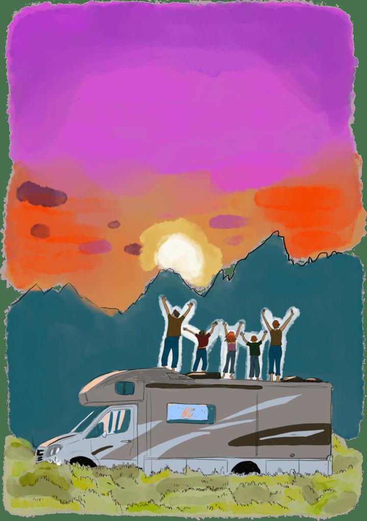 Famille en tour du monde sur le toit d'un camping car face au couché de soleil