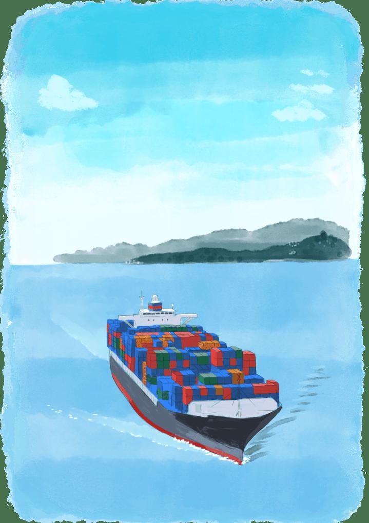 Un bateau cargo transportant des voyageurs