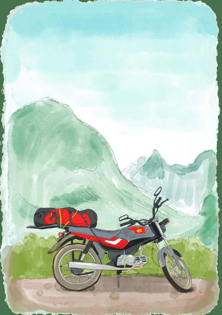 Moto de voyage face à un paysage du Vietnam
