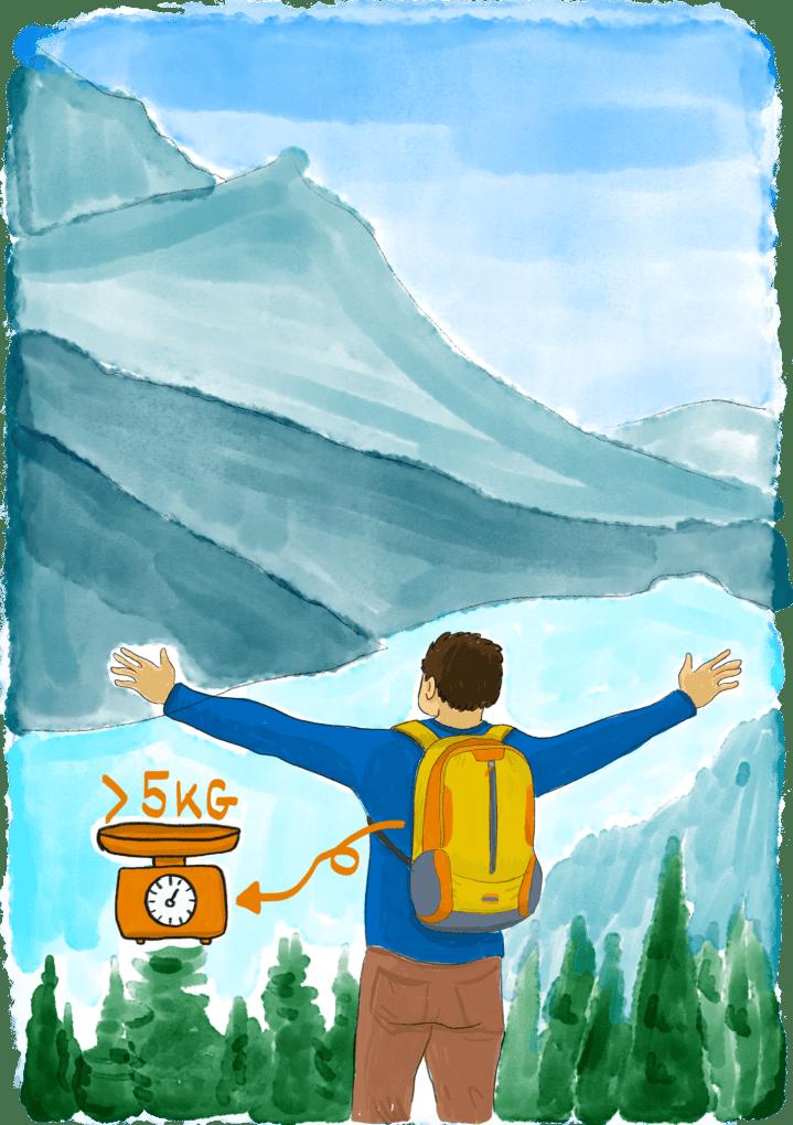 Voyageur avec un petit sac à dos de moins de 5kg