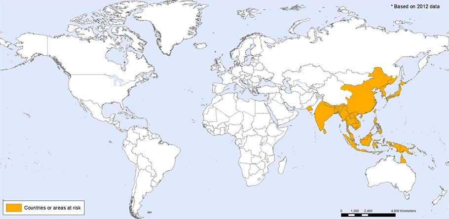 Carte encephalite japonaise 0MS 2012