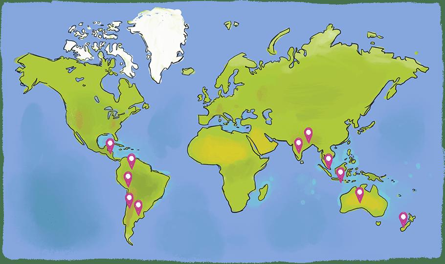 Carte des pays visités par François