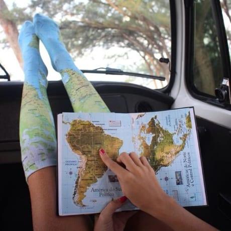 Chausettes carte du monde