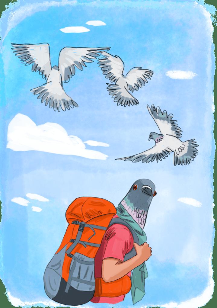 Homme à tête de pigeon avec un sac à dos