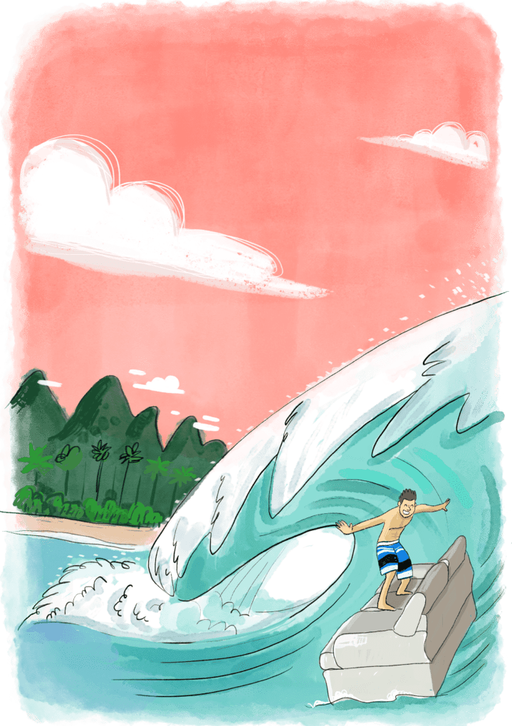 Homme en train de surfer une vague sur un canapé