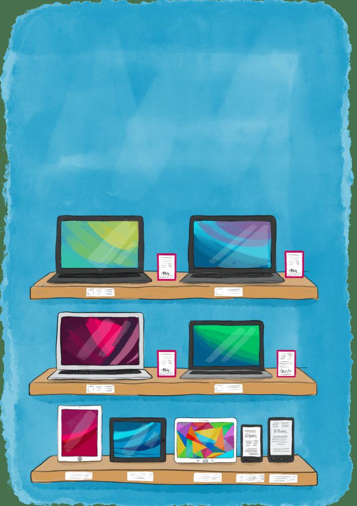 Ordinateurs, tablettes, liseuses sur des étagères