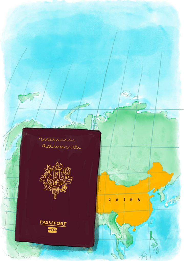 Passeport sur une carte de Chine