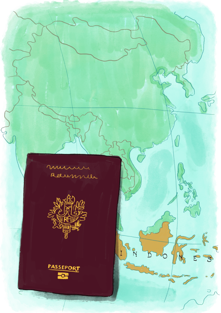 Passeport sur une carte d'Indonésie