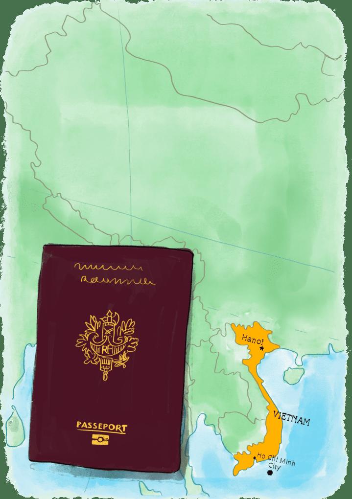 Passeport sur une carte du Vietnam