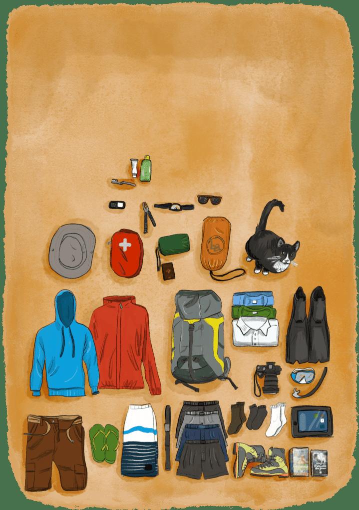 Tous l'équipement contenu dans un sac pour faire le tour du monde étalé au sol