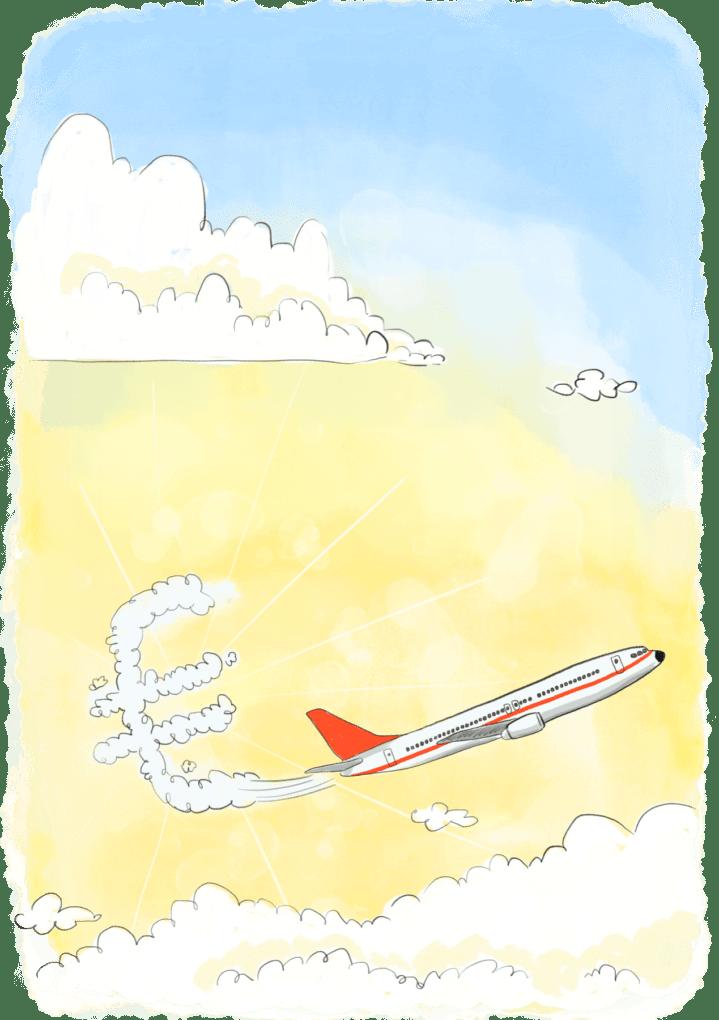 Avion dont la traine forme la lettre euro