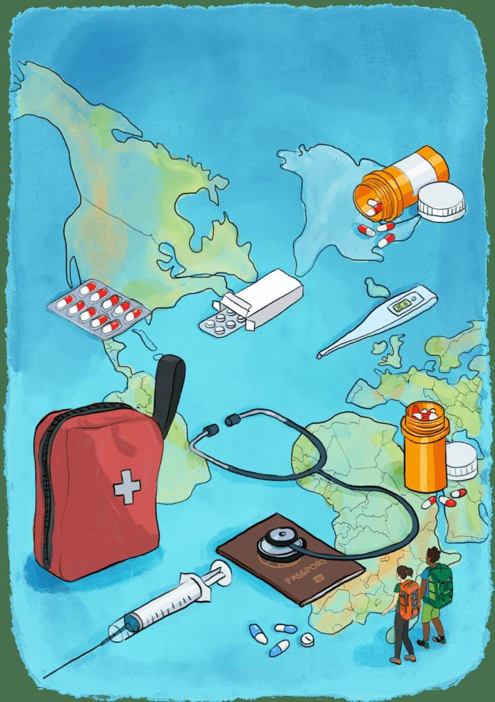 illustration santé, vaccins pour un tour du monde