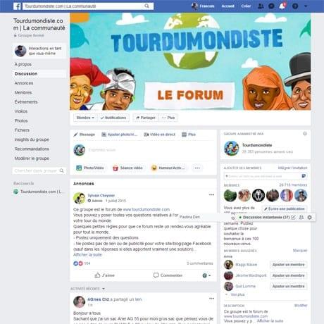 Notre forum des tourdumondiste est un groupe facebook
