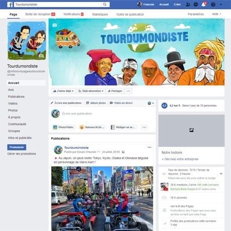 La page facebook de tourdumondiste