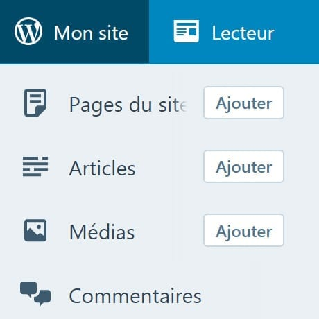 Screenshot administration Wordpress