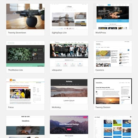 Screenshot choix themes wordpress