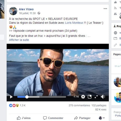 Screenshot d'une video sur le facebook de Vizeo