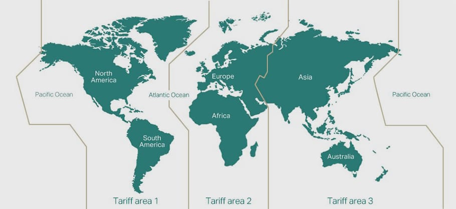 Carte zones IATA