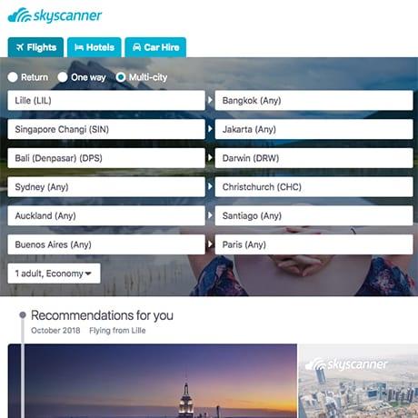 La recherche multi-destinations sur Skyscanner