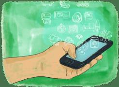 Des icones d'applications de voyage pour smartphones sortent d'un téléphone