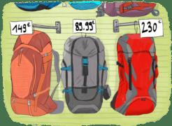 Rayon de magasin de sacs de voyage pour faire un tour du monde