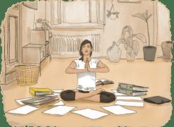 Femme qui reste zen en faisant des démarches administratives pour son voyage en tour du monde