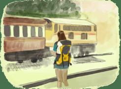 Femme qui voyage seule devant un train