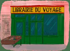 Façade d'une librairie de voyage