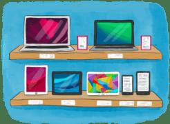 Ordinateurs, tablettes, liseuses sur des étagère