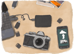 Matériel technique pour sauvegarder ses photos sur une table