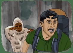 Homme en sac à dos poursuivi par un monstre