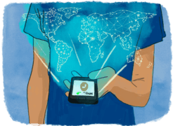 Téléphone portable qui projète l'image d'une carte du monde