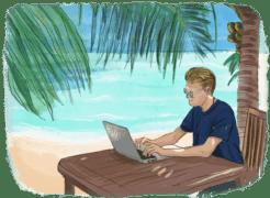 Homme qui travaille sur son ordinateur devant un paysage tropical