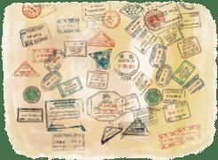 Nombreux tampons de visas sur un passeport