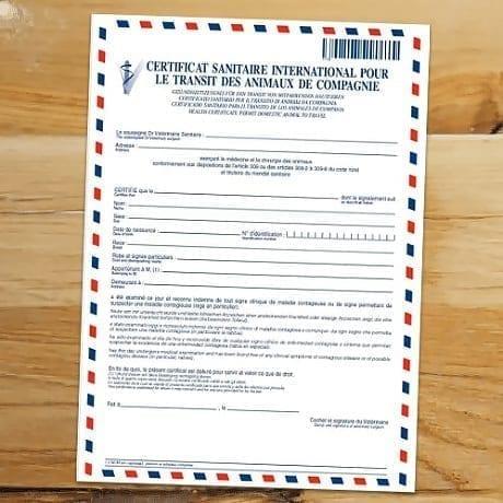 certificat de transit pour animaux de compagnie