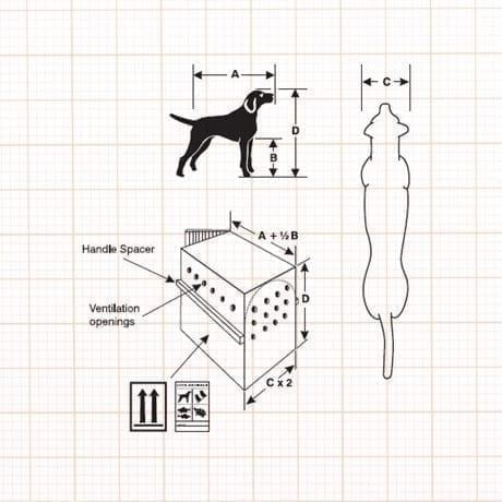 Schema dimension des conteneurs pour chien selon Iata Travel