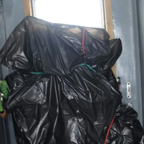 Vélo emballés et stockés dans l'interwagon