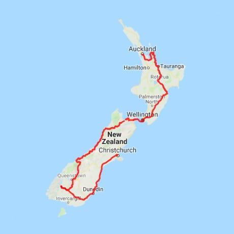 Itinéraire Nouvelle Zélande