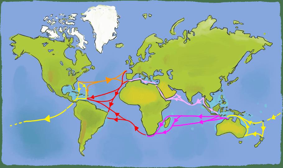 Grandes routes maritimes du monde à la voile
