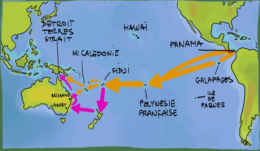 carte des routes maritimes transpacifique en voilier