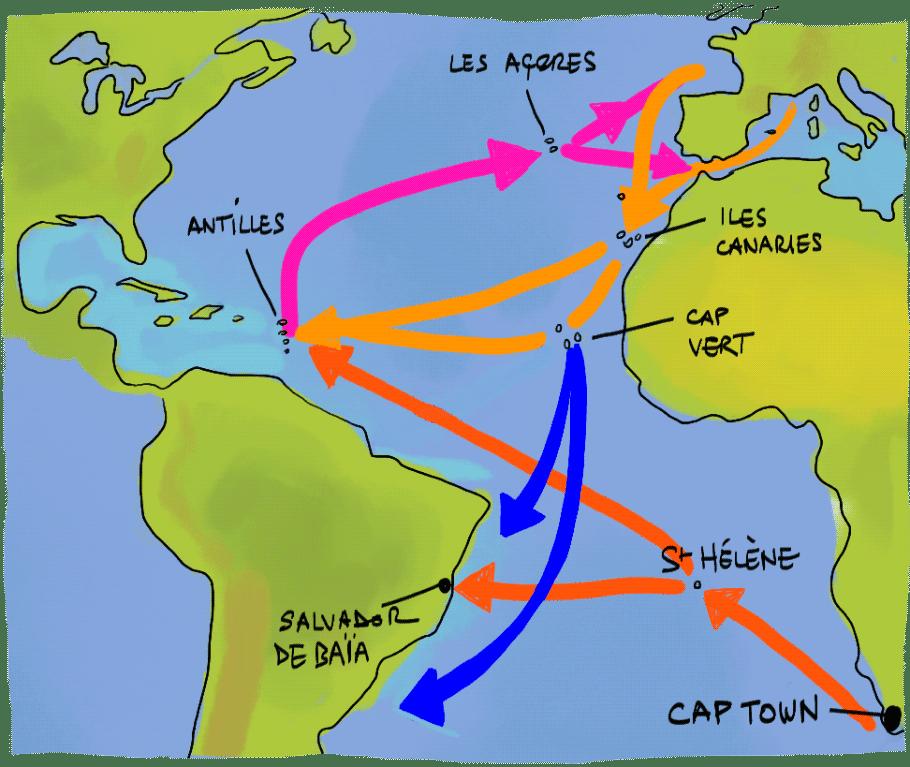 Carte des routes maritimes transatlantiques à la voile